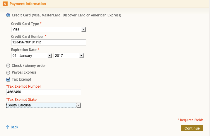 Tax Exempt Option At Stage 5 of One Page Checkout